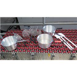 "Qty 3 Pots 9"" Diameter, 6 Strainers & 3 Plastic Spatulas"