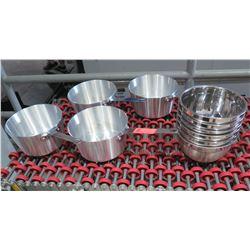 "Qty 4 Pots 9"" Diameter & Approx. 10 8"" Diameter Metal Mixing Bowls"