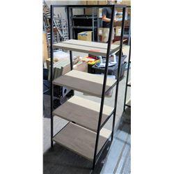 Black Metal & Wood 4 Tier Shelf 12  W x 5' High
