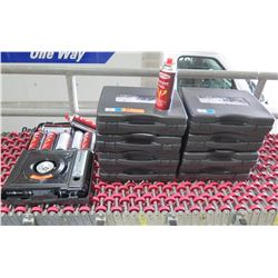 Qty 9 Gas One GS1000 Deluxe Portable Gas Stoves & 7 Cans Butane Fuel