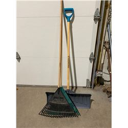 Shovel and rakes