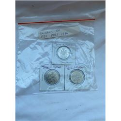.50c piece Canadian coins lot of 3