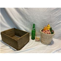 Wood crate, sprite bottle, crazy 8 card game lidded container