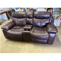 Leather love seat reclining