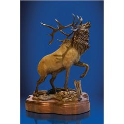"BRONZE BY LORENZO GHIGLIERI ENTITLED ""WAPITI"""