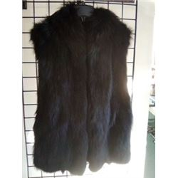 BLACK DYED FOX VEST