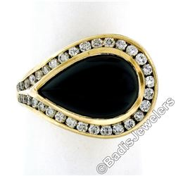 18kt Yellow Gold Pear Cabochon Black Onyx and Channel Set Diamond Ring