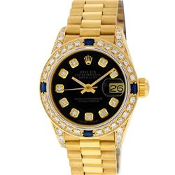Rolex Ladies 18K Yellow Gold Black Diamond And Sapphire President Wristwatch Wit