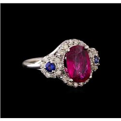 14KT White Gold 2.62 ctw Tourmaline, Sapphire and Diamond Ring