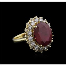 14KT Yellow Gold 8.00 ctw Ruby and Diamond Ring