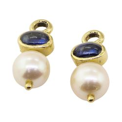 0.80 ctw Blue Sapphire and Pearl Earring Enhancers - 14KT Yellow Gold