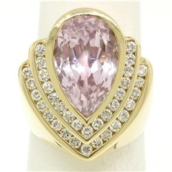 14k Yellow Gold Bezel Pear Morganite & Diamond Channels 8.05 ctw Large Ring