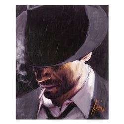 "Fabian Perez, ""Black Hat"" Hand Textured Limited Edition Giclee on Board. Hand Si"
