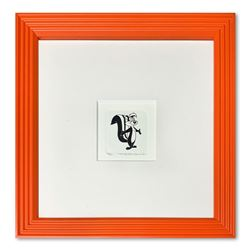 """Pepe le Pew"" Framed Limited Edition Etching with Hand-Tinted Color and Numbered"