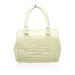 Nancy Gonzalez Yellow Crocodile Top Handle Handbag