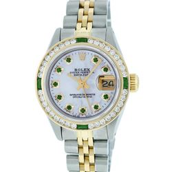 Rolex Ladies 2 Tone MOP Emerald & Channel Set 26MM Datejust Wristwatch