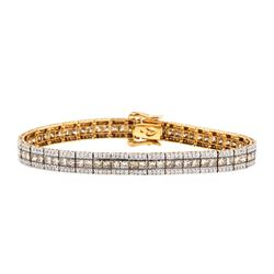 8.22 ctw Princess Cut Diamond And Round Brilliant Cut Diamond Bracelet - 14KT Ro