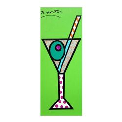 "Romero Britto ""Green Martini"" Hand Signed Limited Edition Giclee on Canvas; Auth"