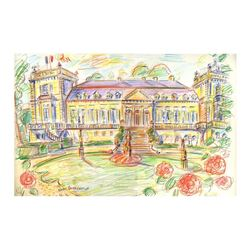 "Wayne Ensrud ""Chateau Ducru-Beaucaillou (Bordeaux)"" Pencil Original Artwork; Han"