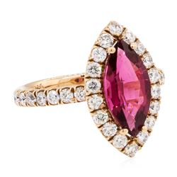 2.99 ctw Marquise Brilliant Rubellite And Round Brilliant Cut Diamond Ring - 14K