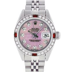 Rolex Ladies Stainless Steel Pink MOP Diamond & Ruby Datejust Wristwatch 26MM