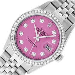 Rolex Stainless Steel Pink Diamond 36MM Oyster Perpetual Datejust Wristwatch