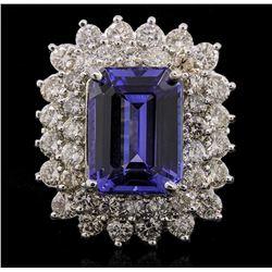 14KT White Gold 6.93 ctw Tanzanite and Diamond Ring