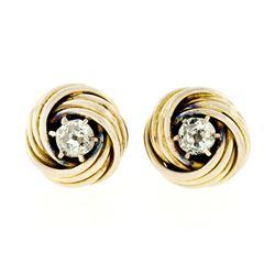 Victorian 14kt Yellow Gold 0.36 ctw Old Mine Cut Diamond Love Knot Stud Earrings