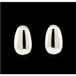 Pear Shape Post Earrings - Rhodium