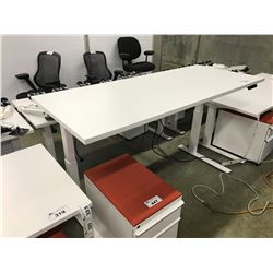 WHITE KNOLL TONE 8' SIT/STAND ELECTRIC ADJUSTABLE HEIGHT TABLE WITH CABLE MANAGEMENT