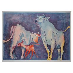 "Edwin Salomon, ""bull family"" Hand Signed Limited Edition Serigraph with Letter o"