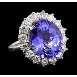 GIA Cert 12.99 ctw Tanzanite and Diamond Ring - 14KT White Gold