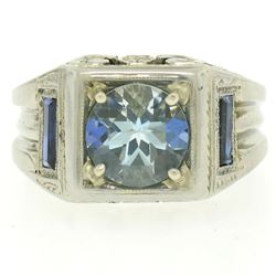 Antique Art Deco 18kt White Gold 1.25 ctw Aquamarine and Diamond Ring