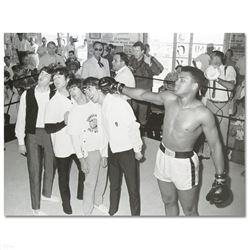 """Muhammad Ali Punching The Beatles"" Licensed Photograph of Heavyweight Champ Muh"