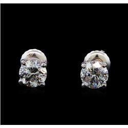 1.43 ctw Diamond Stud Earrings - 14KT White Gold