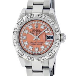 Rolex Ladies Stainless Steel Quickset Salmon String Diamond Datejust Wristwatch