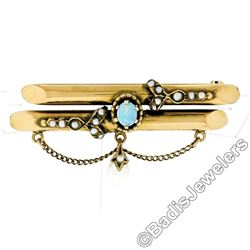 Victorian 14kt Gold Opal, Seed Pearl, & Natural Pearl Dangle Dual Bar Brooch