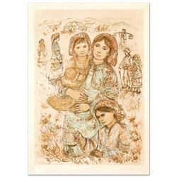 """Family in the Field"" Limited Edition Lithograph by Edna Hibel (1917-2014), Numb"