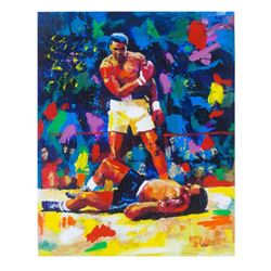 """Igor Semeko, """"Ali Over Liston"""" Hand Signed Mixed Media on Canvas with Letter of"""