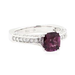 2.06 ctw Square Cushion Mixed Lavender Spinel And Round Brilliant Cut Diamond Ri