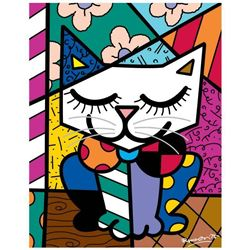 """Romero Britto """"New Sam Cat"""" Hand Signed Giclee on Canvas; Authenticated"""