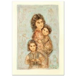 """""""Catherine and Children"""" Limited Edition Lithograph by Edna Hibel (1917-2014), N"""