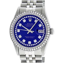 Rolex Stainless Steel Blue String Diamond 36MM Oyster Perpetual Datejust Wristwa