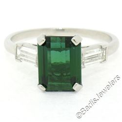 Vintage 18kt White Gold 2.62 ctw Green Tourmaline Solitaire and Diamond Ring