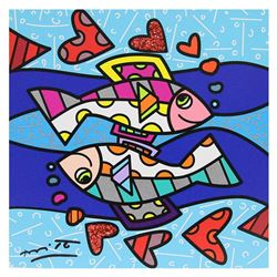 """Britto, """"Pisces"""" Hand Signed Limited Edition Giclee on Canvas; Authenticated."""