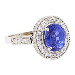 5.17 ctw Oval Mixed Blue Sapphire And Round Brilliant Cut Diamond Ring - 18KT Wh