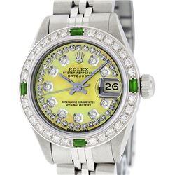 Rolex Ladies Stainless Steel Yellow MOP Emerald & Diamond Datejust Wristwatch