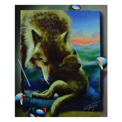 """Ferjo, """"Cuddle Up with Mom"""" Limited Edition on Canvas, Numbered and Signed with"""