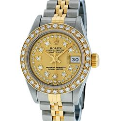 Rolex Ladies 2 Tone Champagne Diamond Oyster Perpetual Datejust Wriswatch 26MM
