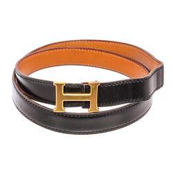 Hermes Vintage Black Brown Reversible Leather Gold Plated Skinny Belt